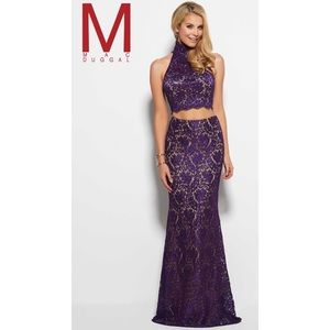 Mac Duggal Purple Lace Two Piece Gown/Prom Dress